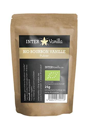 InterVanilla BIO Bourbon Vanille gemahlen, 25g Vanillepulver. Vanille gemahlen aus echter Bourbon...