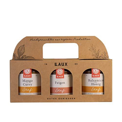 LAUX Senf Trio Geschenkset 3x130ml (Mango Curry Senf, Feigen Senf, Balsamico-Honig Senf), tolles...