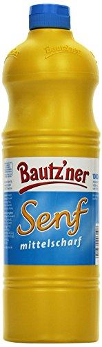 BAUTZ'NER Senf mittelscharf – 4er Pack (4 x 1 l) Flasche Mittelscharfer Senf– Original...