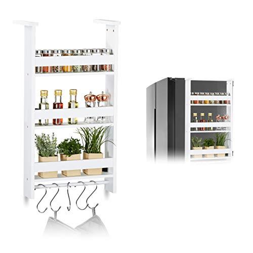 Relaxdays Hängeregal für Kühlschrank, Aufbewahrung von Gewürzen, mit Küchenreling & 5 Haken,...