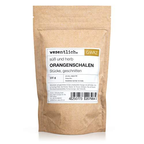Orangenschalen, geschnitten, 100g - perfekt zum Kochen, Backen und für Tee - im Standbodenbeutel...