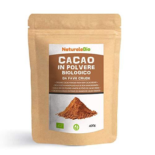 Kakao Pulver Bio 400 g. Organic Cacao Powder. 100% Natürlich, Rein aus de Roh Kakaobohnen....