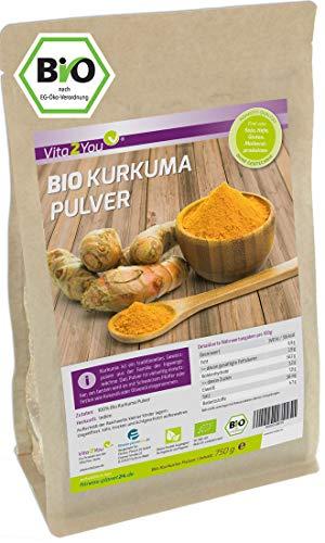 Kurkuma Pulver Bio 750g - Rohkost-Qualität - natürliches Kurkumin - Kurkumapulver - Curcuma...