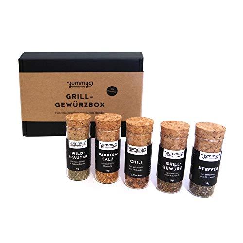 Bio Grill-Gewürzbox mit Rezepten / Geschenkset mit fair gehandelten Grillgewürzen /...