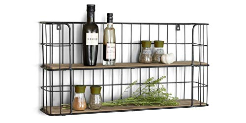LIFA LIVING Vintage Wandregal aus Holz und Metall Schwarz mit 2 Böden-Holzregal-Natur Stil,...