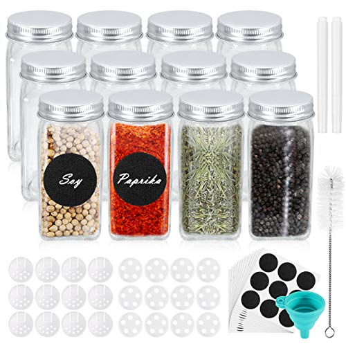 Familybox 12 Stück Gewürzgläser Set, 120 ml / 4oz Quadratische Glasgewürzdosen mit Luftdichte &...