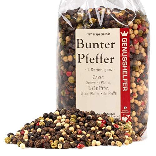 Bunter Pfeffer 150 Gramm ganz Pfeffermischung aus 4 Sorten Pfeffer, geeignet für die Pfeffermühle,...