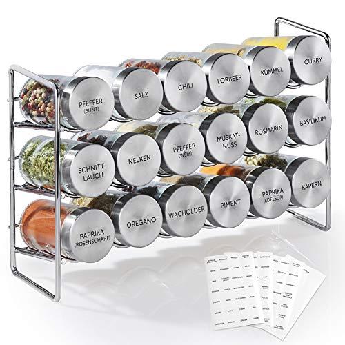 Vomeno Gewürzregal mit 18 Edelstahl Gläsern – Universal Küchen-Organizer inkl. Gewürz-Gläser...