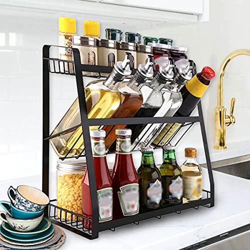 Homease Gewürzregal 3-Etagen Schawarz Gewürz Organizer Regal stehende für Küchen, Aufbewahrung...