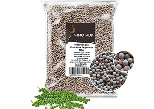 Minotaur Spices | Pfeffer weiß ganz, Pfefferkörner weiß, 2 X 500g (1 Kg)