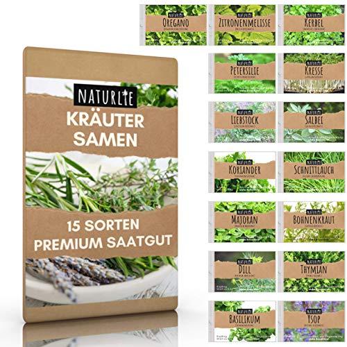 15er Kräuter Samen Set von Naturlie, 15 Sorten Küchenkräuter im Kräutersamen Set, Kräuterset...