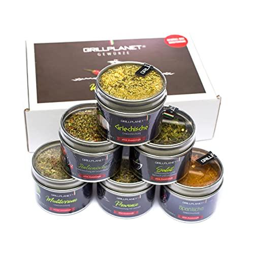 Gewürz Geschenk Set mediterran in Geschenkverpackung - Gewürzmischung für Grill Pfanne Salat und...