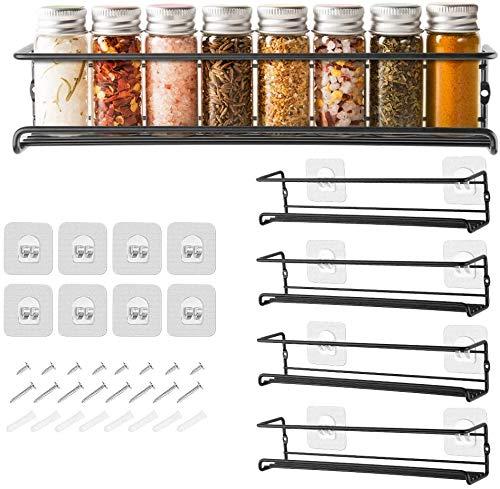 GEEDIAR Gewürzregal aus Metall - 4er hängend lang Küchenregal Gewürzregal selbstklebend ohne...