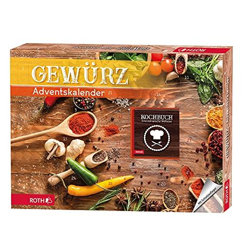ROTH Bio Gewürz-Adventskalender 2021 gefüllt mit 24 hochwertigen Gewürzen und Kochbuch zum Kochen...