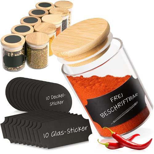 G&K Kitchenware ® Gewürzgläser Set Rund (10 Stück) Gewürzdosen 120ml Mit Bambusdeckel Und...
