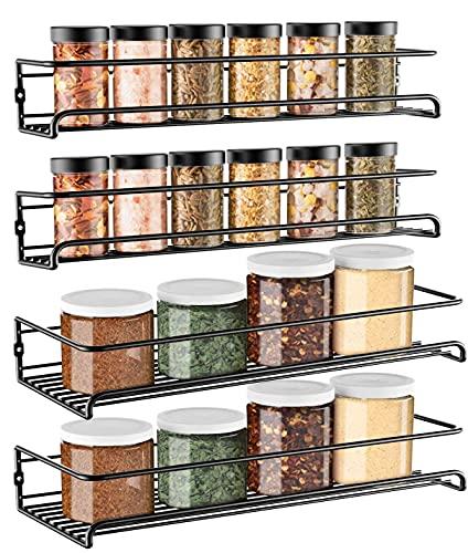 GEEDIAR Gewürzregal - 4er 2 Größen hängend lang Wand metall Gewürzhalter Küchenregal ohne...