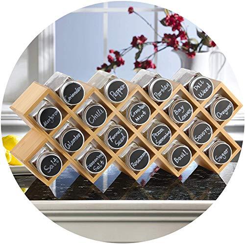 ecooe Bambus Gewürzregal Gewürzständer für Küchenschrank und Arbeitsfläche Gewürzhalter mit...