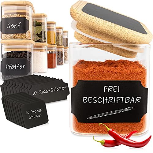 G&K Kitchenware ® Gewürzgläser Set Eckig (10 Stück) Gewürzdosen 160ml Mit Bambusdeckel Und...