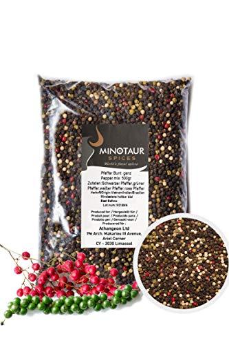 Minotaur Spices | Pfeffer bunt ganz | 2 X 500g (1 Kg) | Bunter Pfeffer aus schwarzen, weißen,...