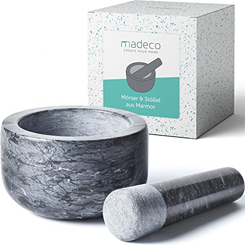 madeco - Edler Marmor Mörser mit Stößel Ø 14 cm - Perfekt geeignet für Gewürze, Kräuter &...