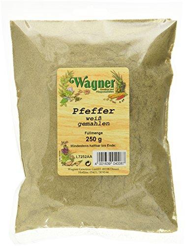 Wagner Gewürze Pfeffer weiß gemahlen, 1er Pack (1 x 250 g)