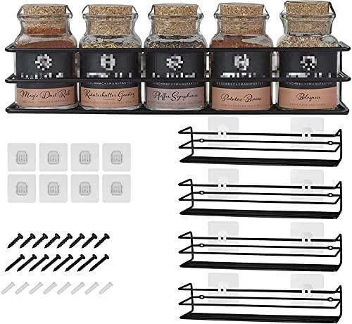 Gewürzregale aus Metall - 4 Stück - fixierbar ohne Bohren - Für Gewürze, als Schrankeinlage oder...