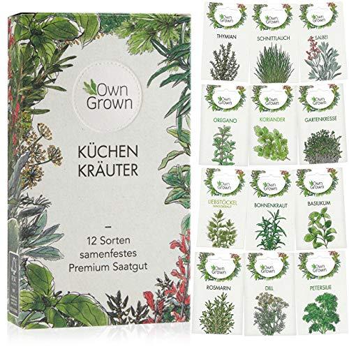 Kräuter Samen Set von OwnGrown, 12 Sorten Küchenkräuter als praktisches Kräutersamen Set,...